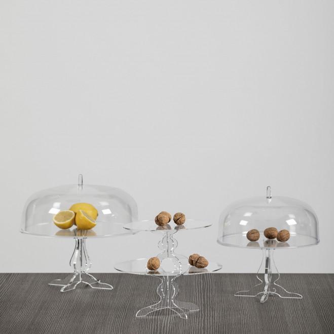 Alzata per dolci in plexiglass con copercho