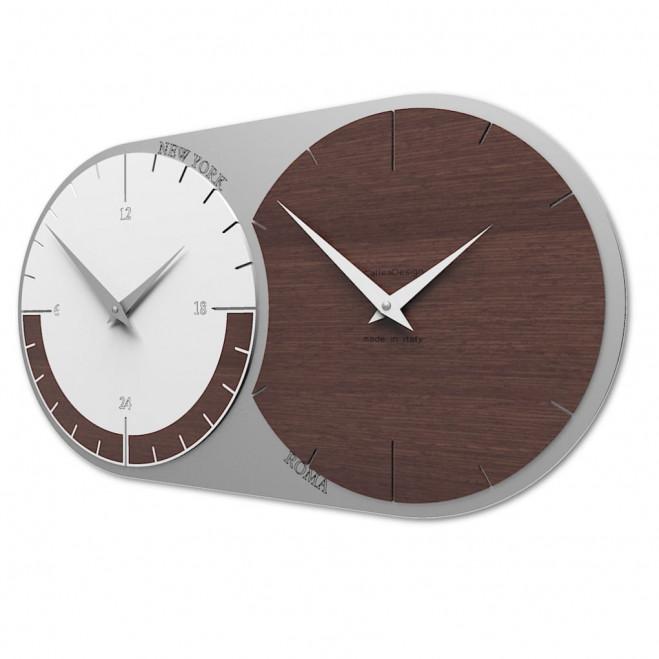 Orologio da parete in legno con fuso orario