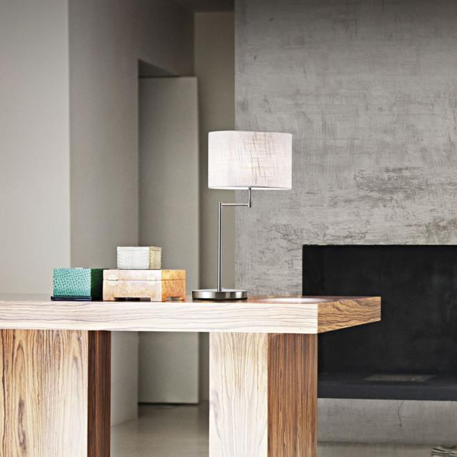 Lampada da tavolo moderna cromo spazzolato con paralume in tessuto