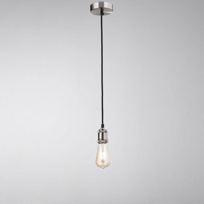 Lampada a sospensione in metallo cromato spazzolato di design minimal