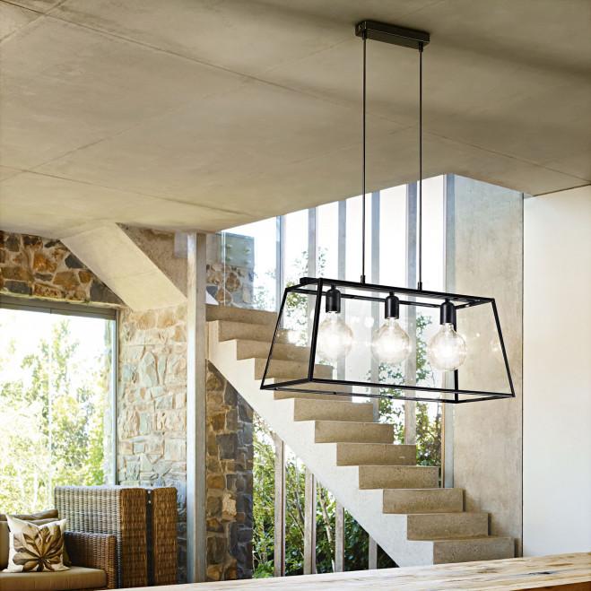 Sospensione moderna in metallo con 3 lampadine e paralume in vetro