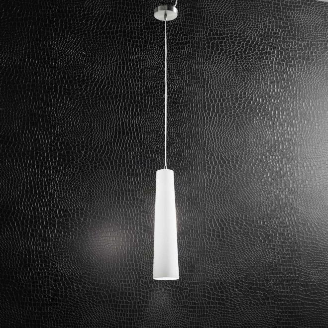 Lampada a sospensione in cromo spazzolato con diffusore in vetro