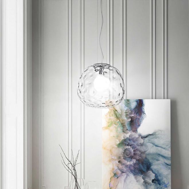 Sospensione di design moderno in cromo lucido con diffusore in vetro grande