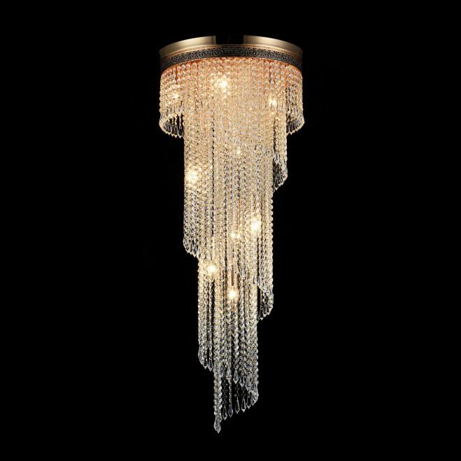 Lampadario classico in metallo e pendenti in cristallo Cascade versione grande