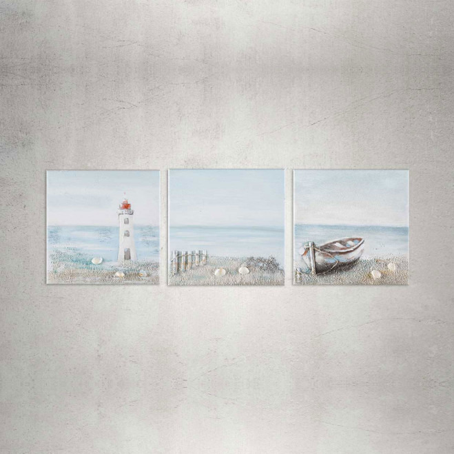 Quadro moderno marino su tela 30x30 Sea Landscape set 3pz