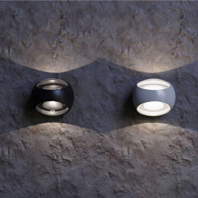 Applique da parete a LED per esterno dal design moderno con diffusore rotondo