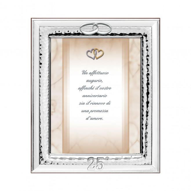 Portafoto in argento classico 25° con fedi 25° anniversario