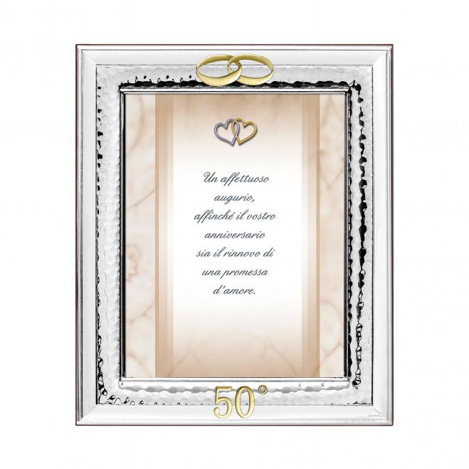 Portafoto in argento 50° con Fedi dorate 50° anniversario