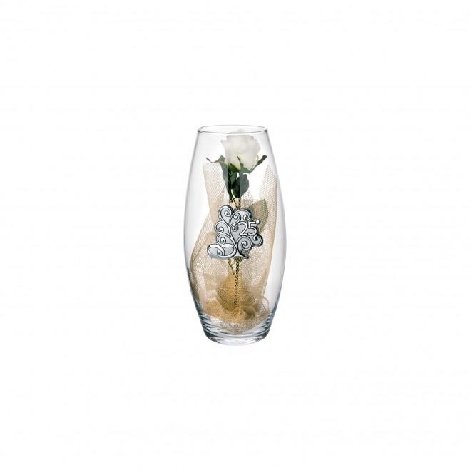 Vaso in vetro Amarilis piccolo 25° anniversario fiori inclusi