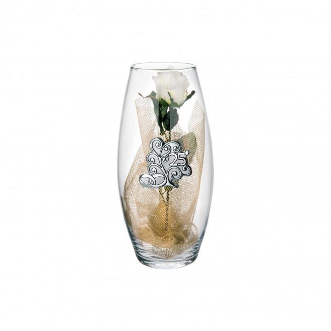Vaso in vetro Amarilis medio 25° anniversario fiori inclusi