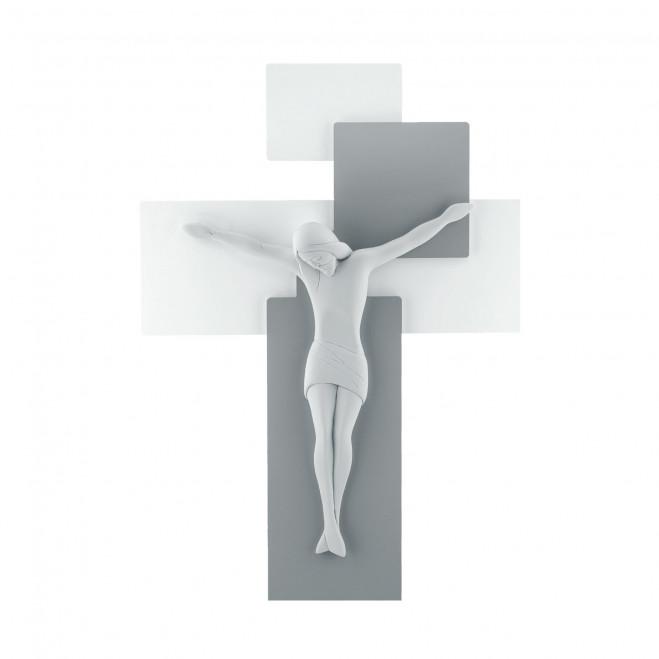 Crocifisso in stile moderno con pannello in legno 42x30