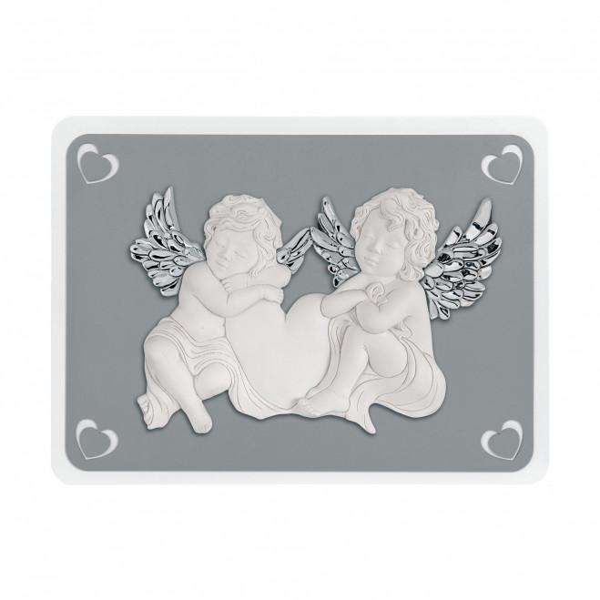 Capezzale quadro sacro moderno con angeli 50x37