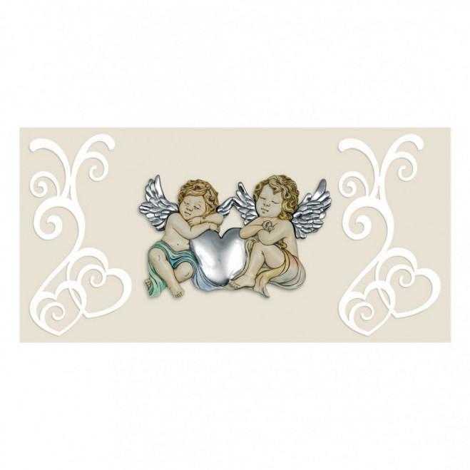 Capezzale Angeli Ceramicati e Argentati con pannello 80x40