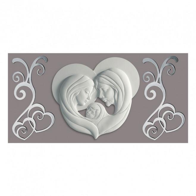 Capezzale quadro argento sacra famiglia con pannello 80x40