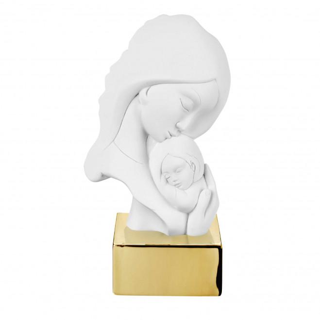 Scultura da tavolo con base in marmorino raffigurazione della maternità