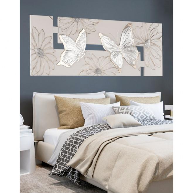 Quadro moderno Farfalle argento 197x67