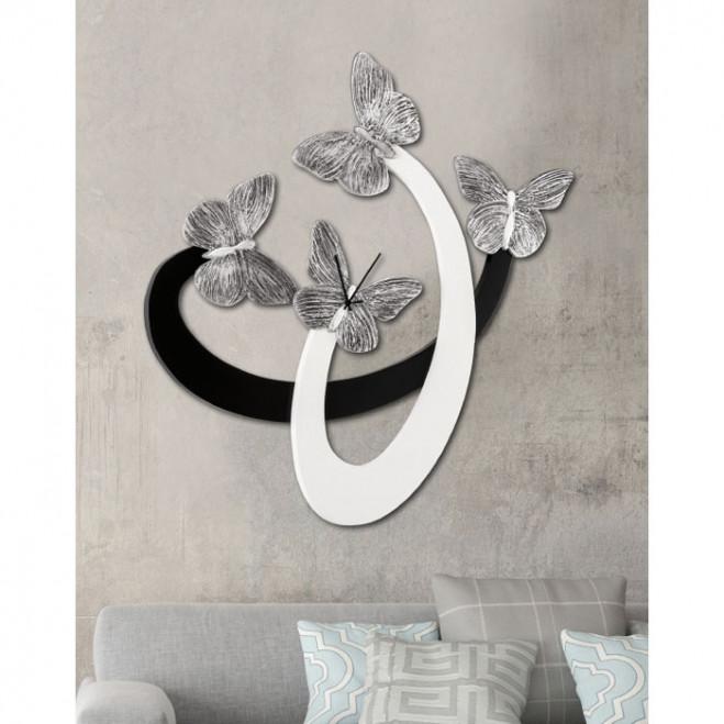 Orologio da parete moderno in legno Farfalle