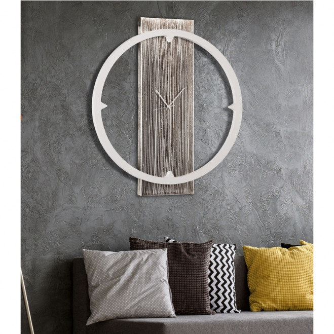Orologio da parete moderno in legno Anello Bianco