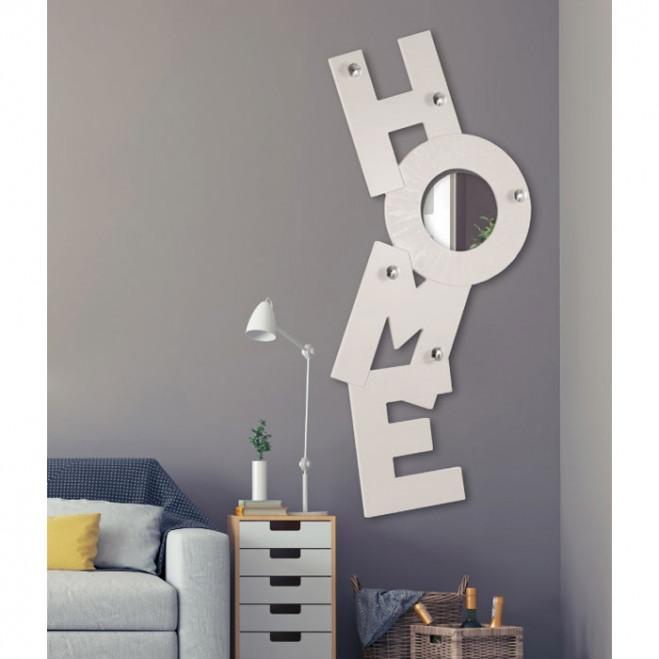 Appendiabiti da parete moderno in legno con specchio Home 74x170