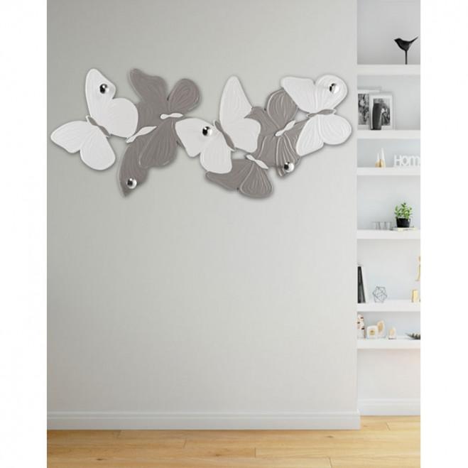 Appendiabiti da parete in legno con farfalle Volteggio Leggero 156x62