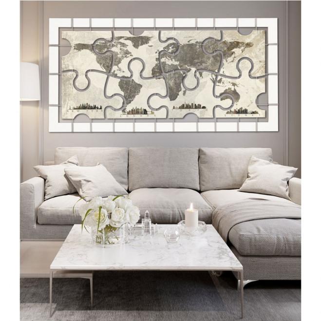 Quadro moderno con planisfero City puzzle 175x85