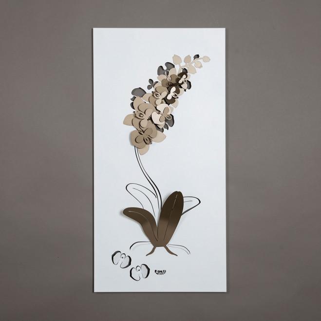 Pannello da parete 100x50 moderno in metallo Orchidea