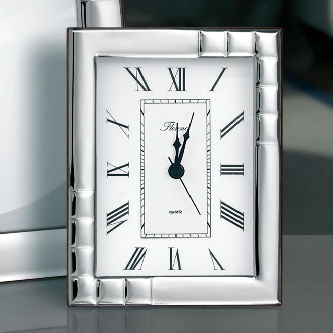 Orologio da tavolo con sveglia in argento 9x13