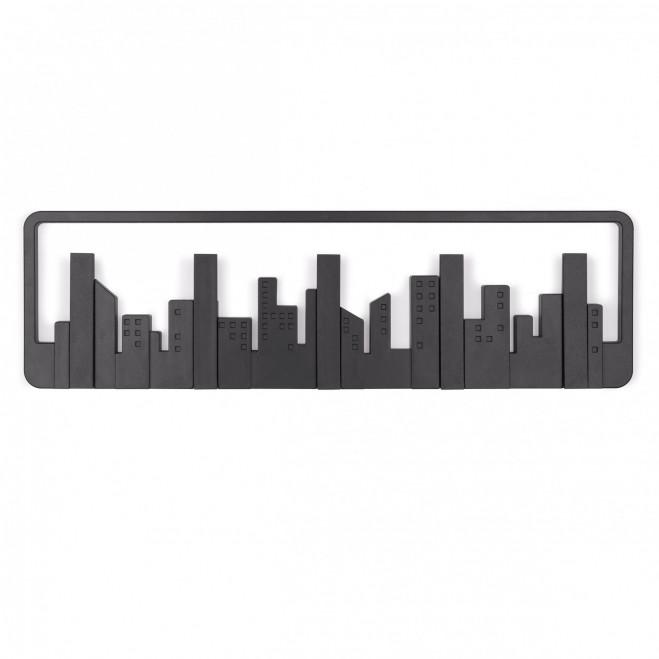 Attaccapanni da parete in plastica con ganci ribaltabili Skyline