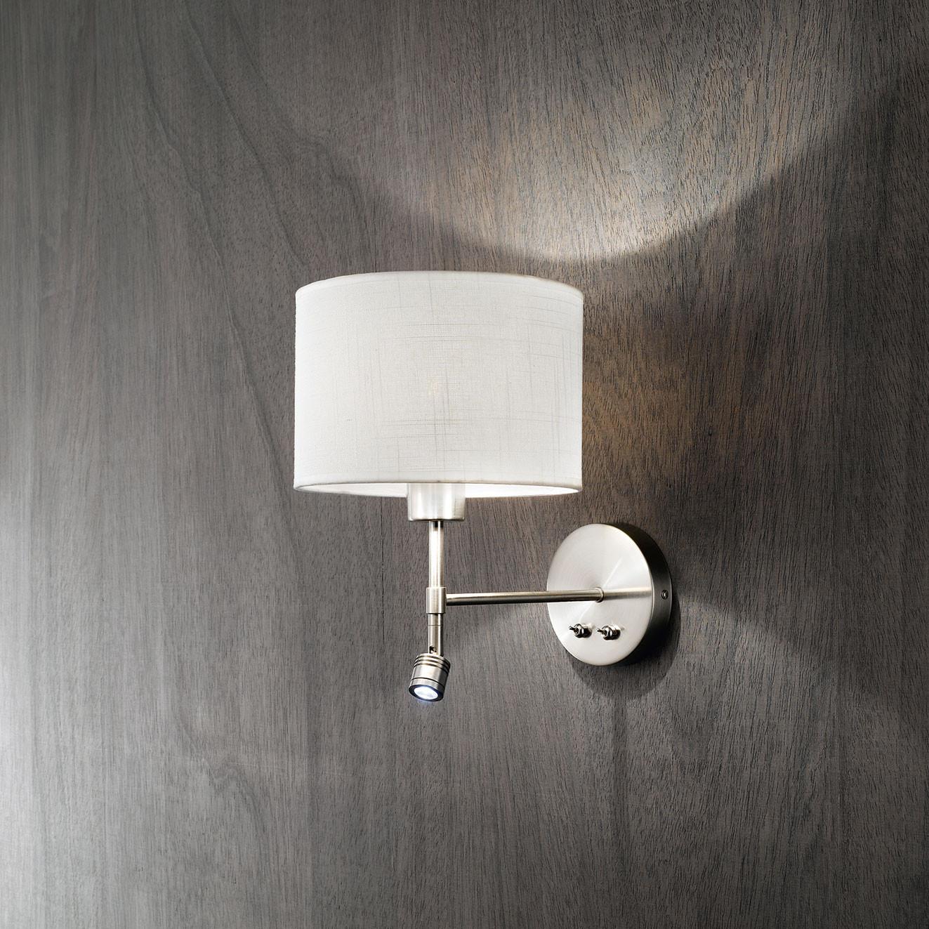 Perenz Applique cromo spazzolato con paralume in tessuto e braccio luminoso a LED 40W