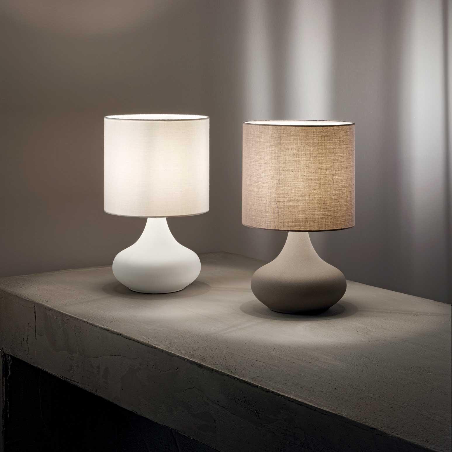 Perenz Lampada Da Tavolo In Metallo Con Paralume In Stoffa Dal Design Moderno