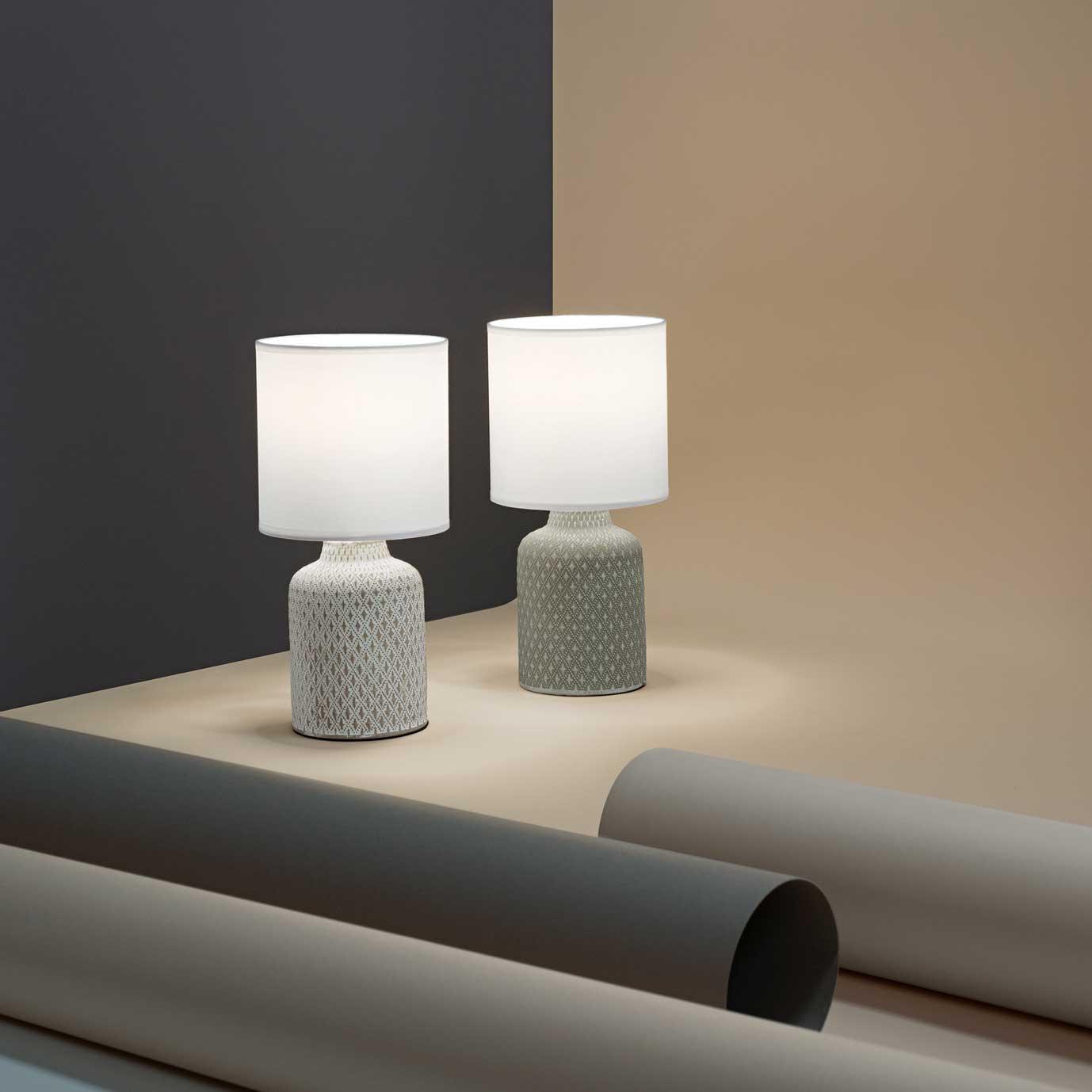 """Design Lampade Da Tavolo perenz lampada da tavolo design moderno in ceramica con paralume in tessuto  """"provenza"""" - 40w"""