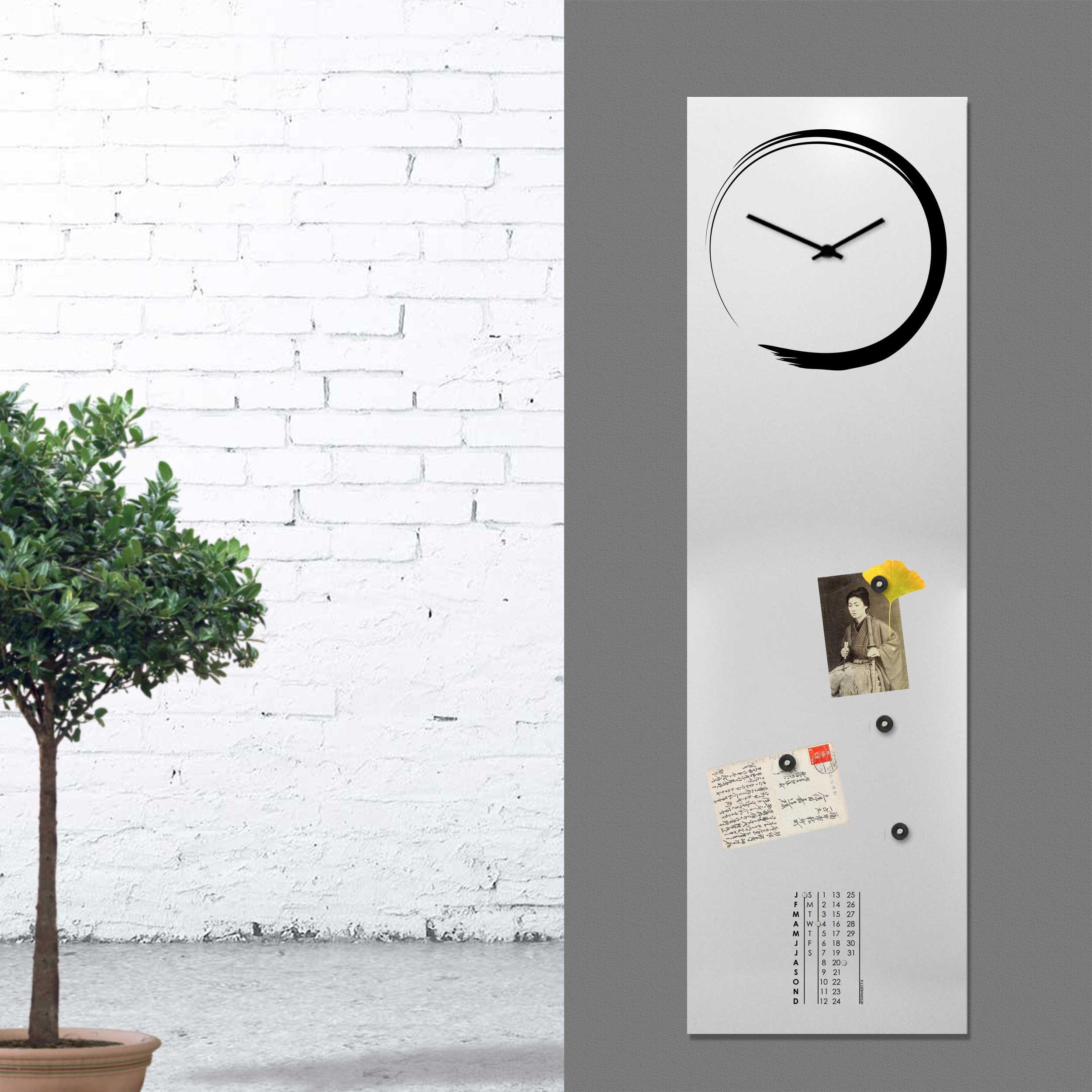 """Lavagna Da Parete Cucina design object orologio da parete verticale con calendario e lavagna  magnetica """"s-enso"""""""