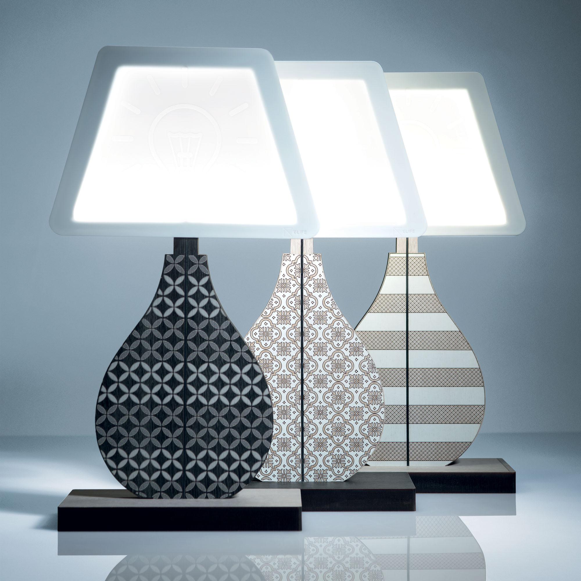 Ves Design Lampada Da Tavolo Moderna In Legno Con Lampadina A Led