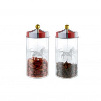 Alessi Set di due contenitori per spezie ermetici in vetro Circus     MW68S2