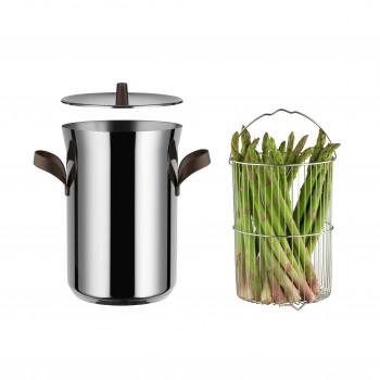"Alessi Pentola per asparagi con cestello e coperchio in acciaio diametro 24"" Edo Acciaio    PU309"