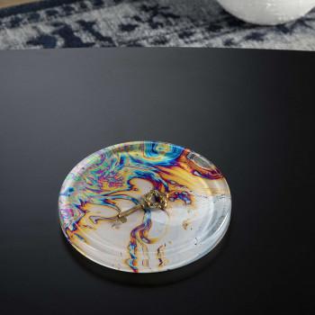 """Vesta Svuotatasche rotondo in stile moderno Hypnosis in plexiglass """"Orange Wave"""" Hollow     0102905HYP"""