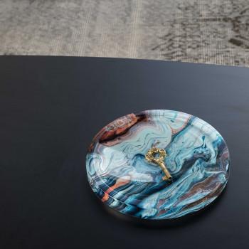 """Vesta Svuotatasche rotondo in stile moderno Hypnosis in plexiglass """"Blue Dune"""" Hollow Multicolore    0102906HYP"""
