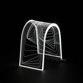 Vesta Lampada da comodino a Led dal design moderno versione Square Arc Trasparente  3000k Luce Calda  0816503
