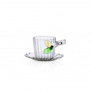 Ichendorf Tazza caffè con piattino decorazione con foglie i vetro GreenWood Verde    093520129