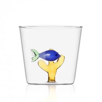 Ichendorf Bicchiere in vetro per aperitivi con all'interno pesciolino Marine Garden Blu    09352054