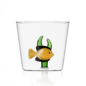 Ichendorf Bicchiere in vetro per aperitivi con pesciolino all'interno Marine Garden Giallo Trasparente    09352056