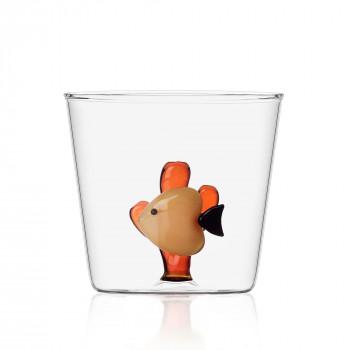 Ichendorf Bicchiere in vetro per aperitivi con pesciolino all'interno Marine Garden Ambra    09352058