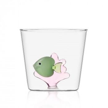 Ichendorf Bicchiere in vetro per aperitivi con pesciolino all'interno Marine Garden Verde    09352059