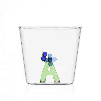 """Ichendorf Bicchiere in vetro tumbler con alfabeto fiorito lettera """"A"""" GreenWood Verde    09352160"""