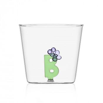 """Ichendorf Bicchiere in vetro tumbler con alfabeto fiorito lettera """"B"""" GreenWood Verde    09352161"""