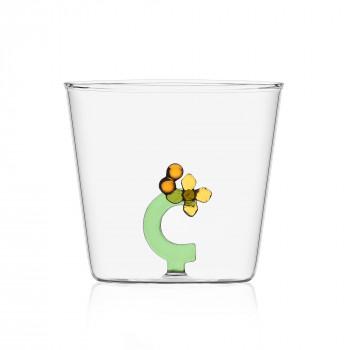 "Ichendorf Bicchiere in vetro tumbler con alfabeto fiorito lettera ""C"" GreenWood Verde    09352162"