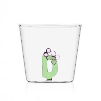 """Ichendorf Bicchiere in vetro tumbler con alfabeto fiorito lettera """"D"""" GreenWood Verde    09352163"""