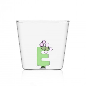 """Ichendorf Bicchiere in vetro tumbler con alfabeto fiorito lettera """"E"""" GreenWood Verde    09352164"""
