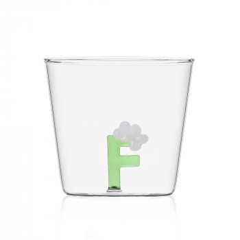 """Ichendorf Bicchiere in vetro tumbler con alfabeto fiorito lettera """"F"""" GreenWood Verde    09352165"""