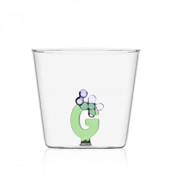 """Ichendorf Bicchiere in vetro tumbler con alfabeto fiorito lettera """"G"""" GreenWood Verde    09352166"""